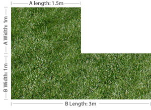 Measuring an L-shaped lawn
